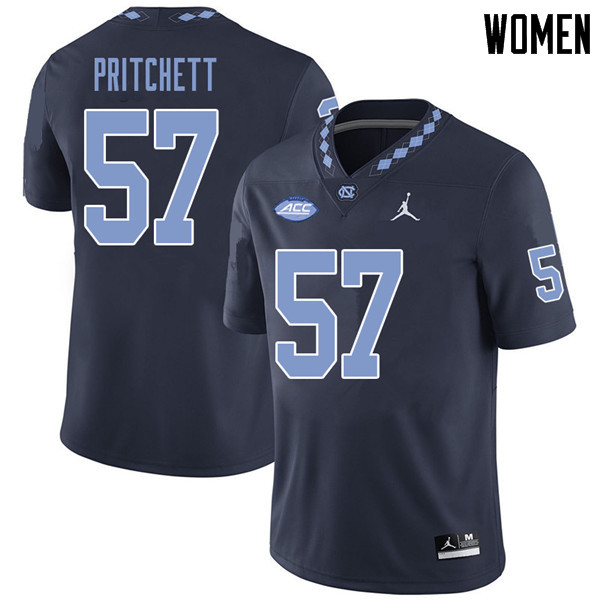 Jordan Brand Women #57 Tyler Pritchett North Carolina Tar Heels College Football Jerseys Sale-Navy