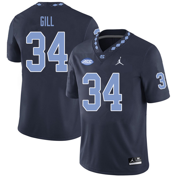 Jordan Brand Men #34 Xach Gill North Carolina Tar Heels College Football Jerseys Sale-Navy