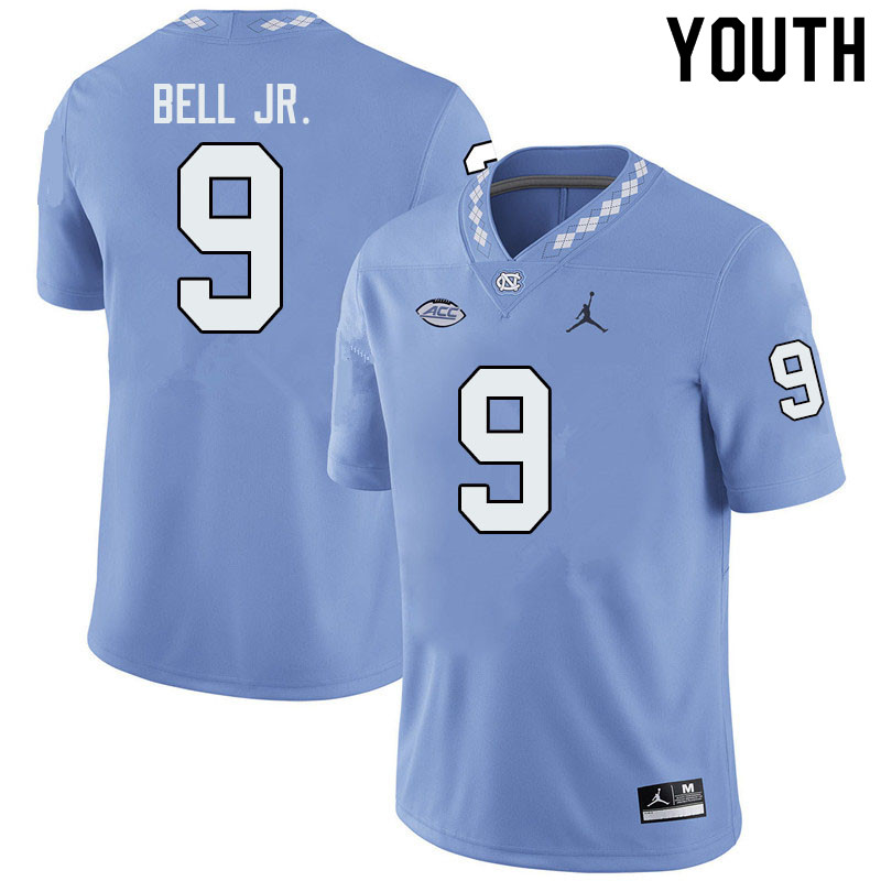 Jordan Brand Youth #9 Corey Bell Jr. North Carolina Tar Heels College Football Jerseys Sale-Blue
