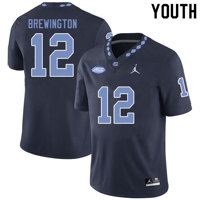 Jordan Brand Youth #12 Donovan Brewington North Carolina Tar Heels College Football Jerseys Sale-Bla