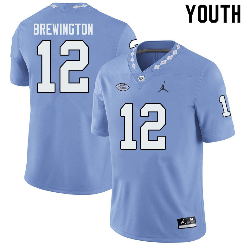 Jordan Brand Youth #12 Donovan Brewington North Carolina Tar Heels College Football Jerseys Sale-Blu