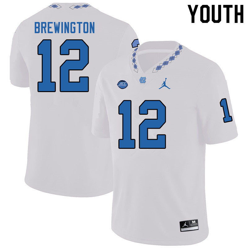 Jordan Brand Youth #12 Donovan Brewington North Carolina Tar Heels College Football Jerseys Sale-Whi