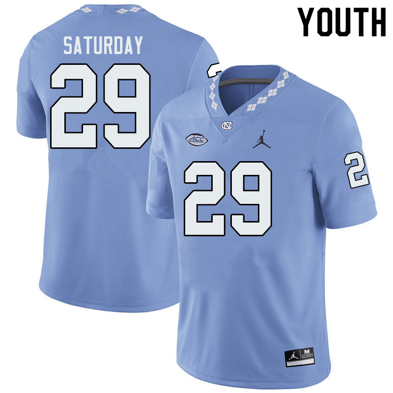 Jordan Brand Youth #29 Jeffrey Saturday North Carolina Tar Heels College Football Jerseys Sale-Blue