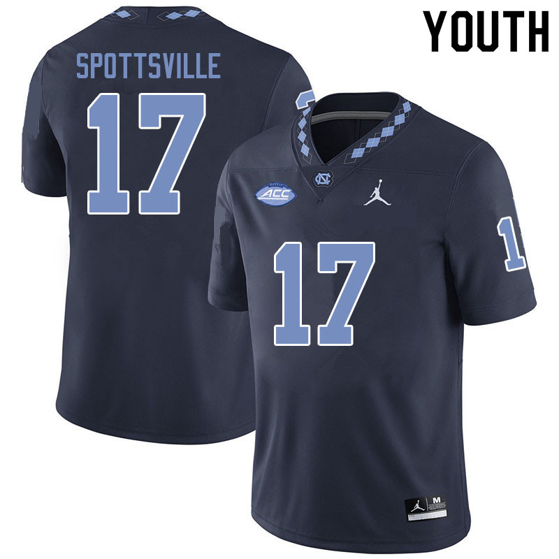 Jordan Brand Youth #17 Welton Spottsville North Carolina Tar Heels College Football Jerseys Sale-Bla