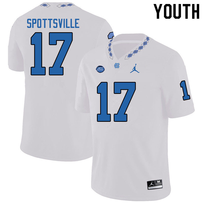 Jordan Brand Youth #17 Welton Spottsville North Carolina Tar Heels College Football Jerseys Sale-Whi