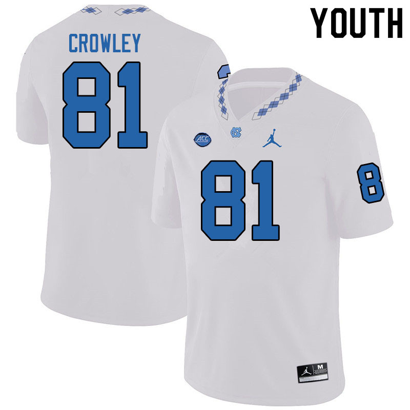 Jordan Brand Youth #81 Will Crowley North Carolina Tar Heels College Football Jerseys Sale-White