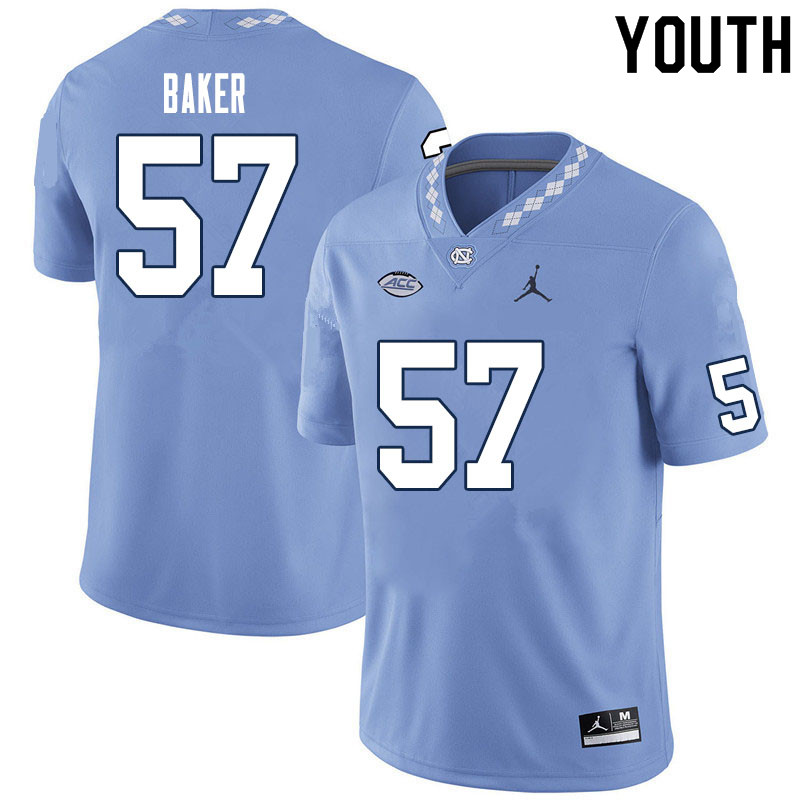 Youth #57 Cayden Baker North Carolina Tar Heels College Football Jerseys Sale-Carolina Blue