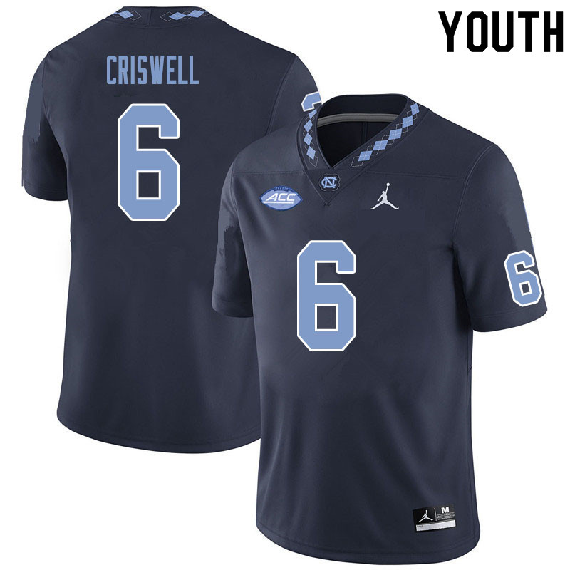 Youth #6 Jacolby Criswell North Carolina Tar Heels College Football Jerseys Sale-Black