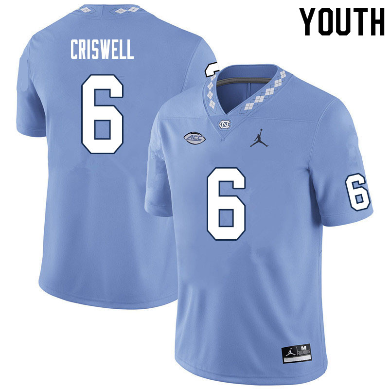 Youth #6 Jacolby Criswell North Carolina Tar Heels College Football Jerseys Sale-Carolina Blue