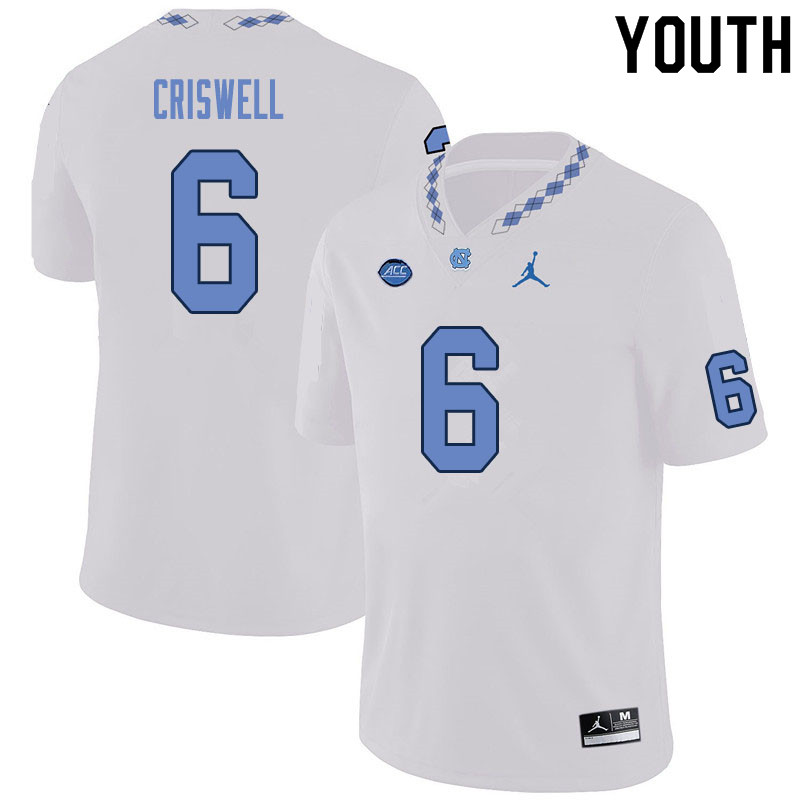 Youth #6 Jacolby Criswell North Carolina Tar Heels College Football Jerseys Sale-White