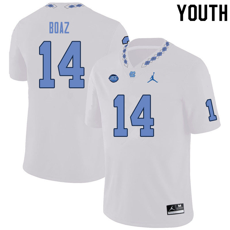 Youth #14 Jefferson Boaz North Carolina Tar Heels College Football Jerseys Sale-White