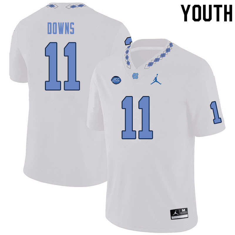 Youth #11 Josh Downs North Carolina Tar Heels College Football Jerseys Sale-White