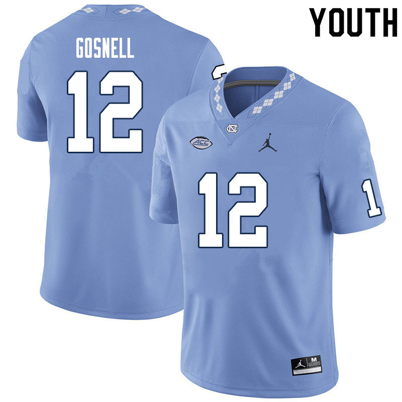 Youth #12 Stephen Gosnell North Carolina Tar Heels College Football Jerseys Sale-Carolina Blue