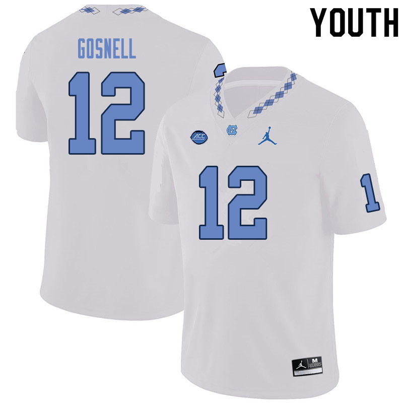 Youth #12 Stephen Gosnell North Carolina Tar Heels College Football Jerseys Sale-White