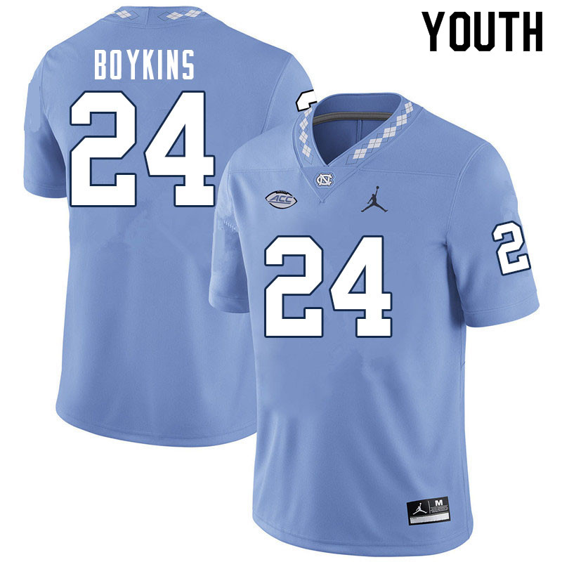 Youth #24 DeAndre Boykins North Carolina Tar Heels College Football Jerseys Sale-Carolina Blue