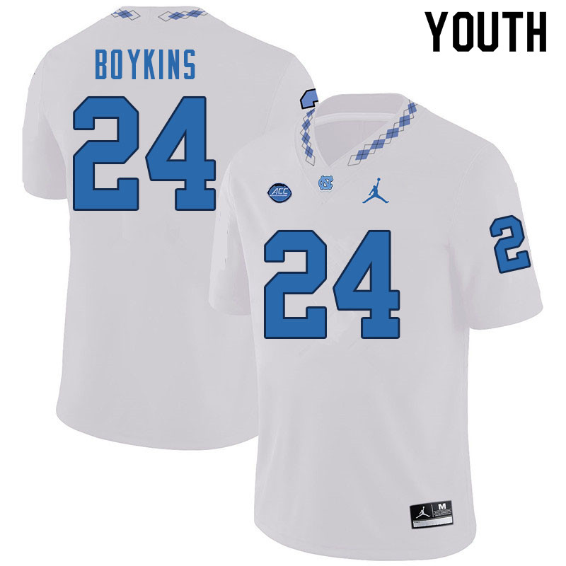 Youth #24 DeAndre Boykins North Carolina Tar Heels College Football Jerseys Sale-White