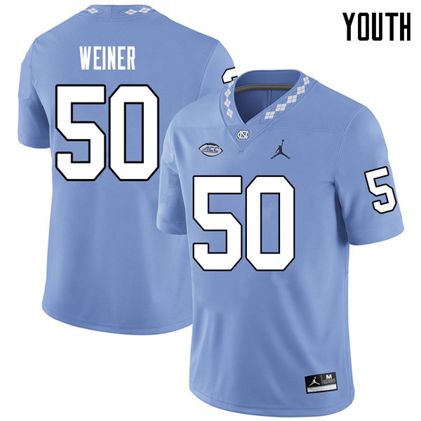 Jordan Brand Youth #50 Art Weiner North Carolina Tar Heels College Football Jerseys Sale-Carolina Bl