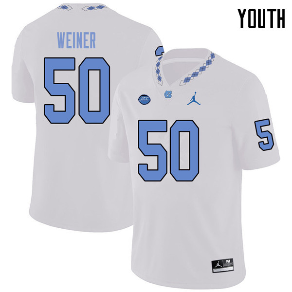 Jordan Brand Youth #50 Art Weiner North Carolina Tar Heels College Football Jerseys Sale-White