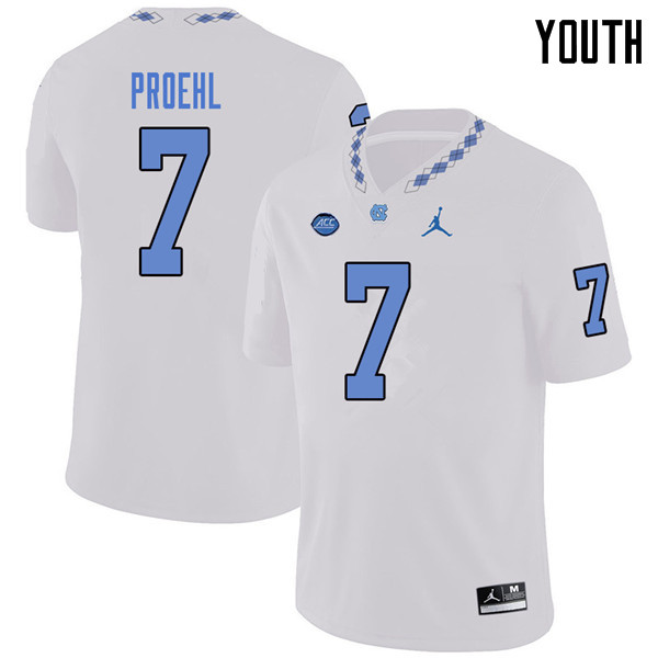 Jordan Brand Youth #7 Austin Proehl North Carolina Tar Heels College Football Jerseys Sale-White