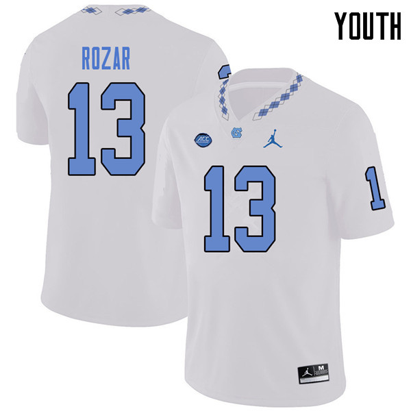 Jordan Brand Youth #13 Caleb Rozar North Carolina Tar Heels College Football Jerseys Sale-White