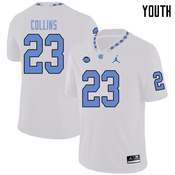 Jordan Brand Youth #23 Cayson Collins North Carolina Tar Heels College Football Jerseys Sale-White