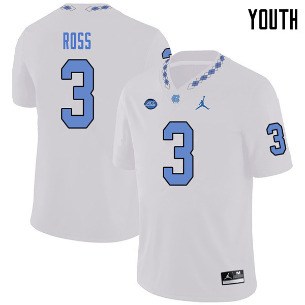 Jordan Brand Youth #3 Dominique Ross North Carolina Tar Heels College Football Jerseys Sale-White