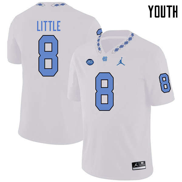 Jordan Brand Youth #8 Greg Little North Carolina Tar Heels College Football Jerseys Sale-White