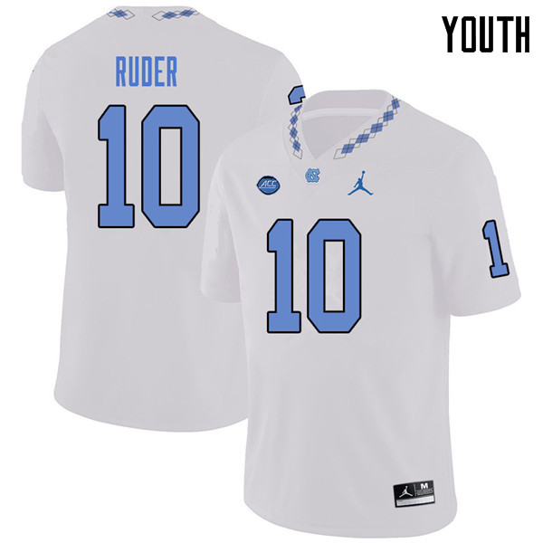 Jordan Brand Youth #10 Jace Ruder North Carolina Tar Heels College Football Jerseys Sale-White