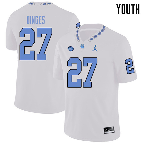 Jordan Brand Youth #27 Jack Dinges North Carolina Tar Heels College Football Jerseys Sale-White