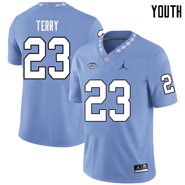 Jordan Brand Youth #23 Javon Terry North Carolina Tar Heels College Football Jerseys Sale-Carolina B