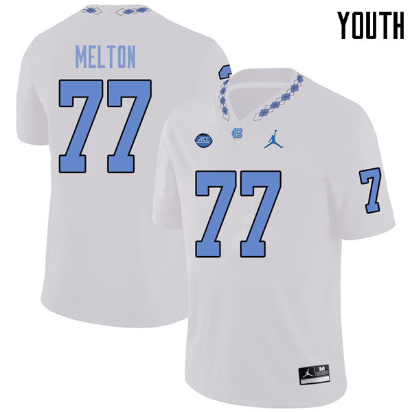 Jordan Brand Youth #77 Jonah Melton North Carolina Tar Heels College Football Jerseys Sale-White