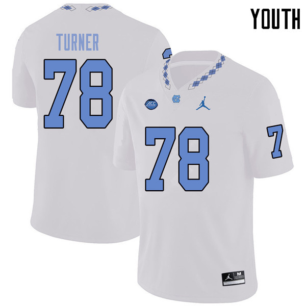 Jordan Brand Youth #78 Landon Turner North Carolina Tar Heels College Football Jerseys Sale-White