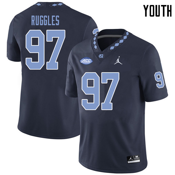 Jordan Brand Youth #97 Noah Ruggles North Carolina Tar Heels College Football Jerseys Sale-Navy