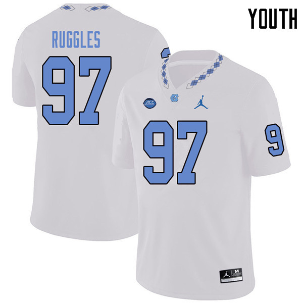 Jordan Brand Youth #97 Noah Ruggles North Carolina Tar Heels College Football Jerseys Sale-White