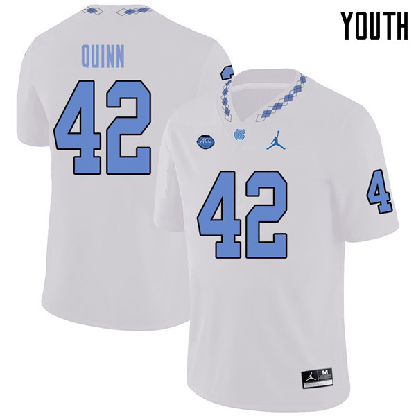 Jordan Brand Youth #42 Robert Quinn North Carolina Tar Heels College Football Jerseys Sale-White
