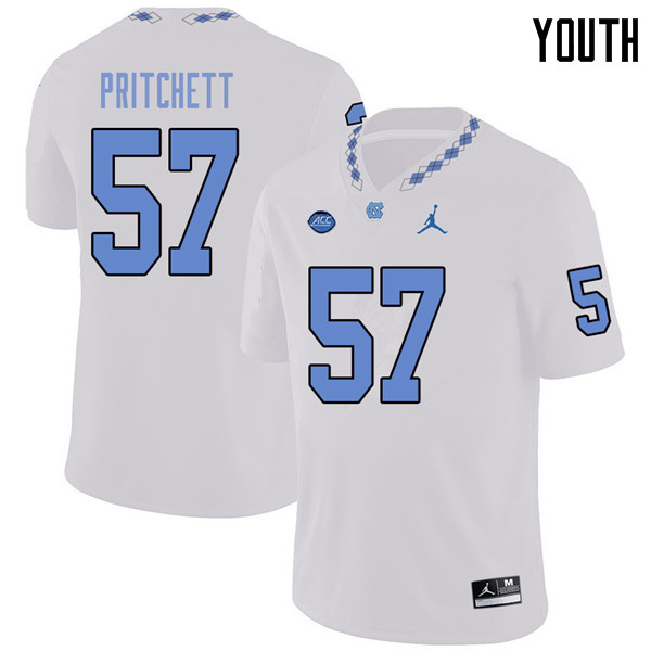 Jordan Brand Youth #57 Tyler Pritchett North Carolina Tar Heels College Football Jerseys Sale-White